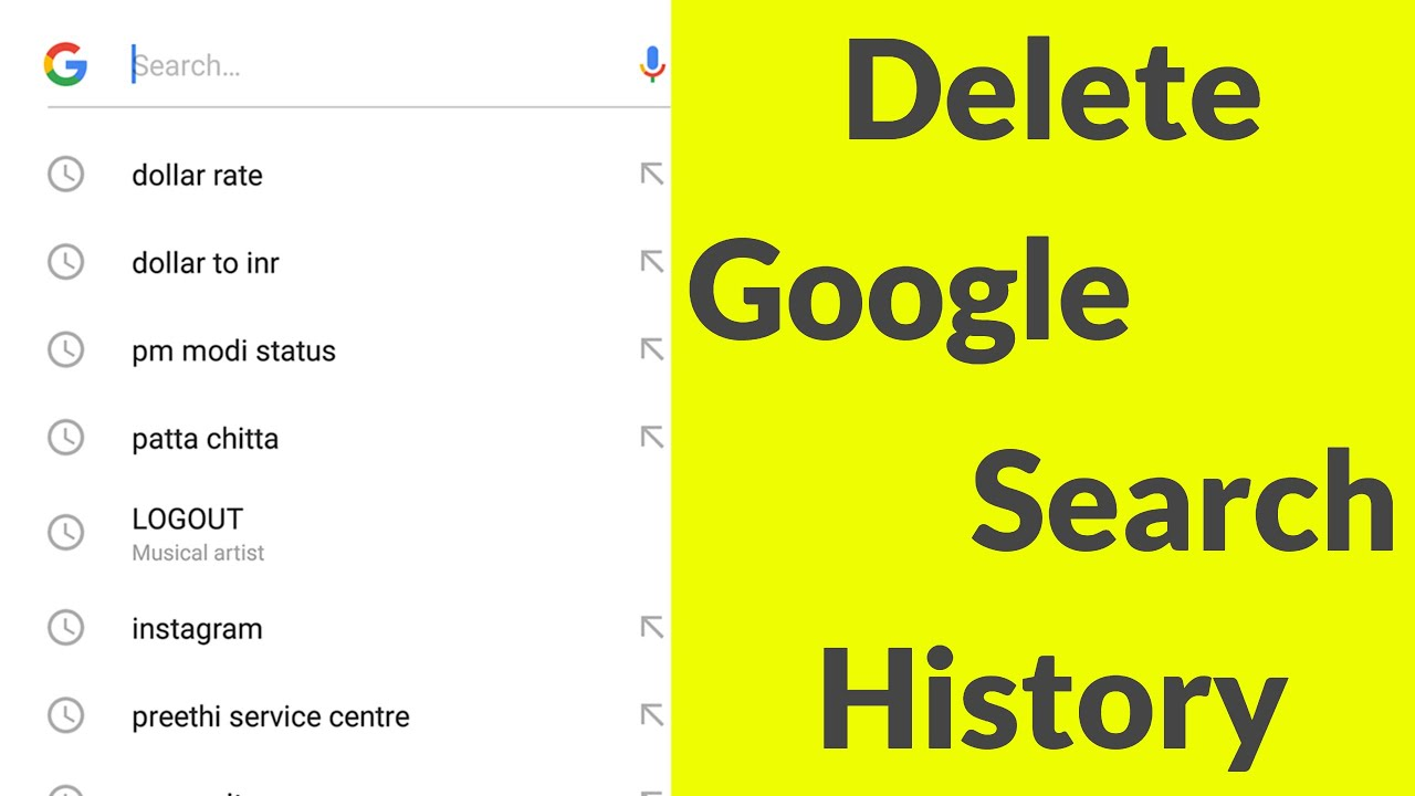 How To Delete Google Search History On Android Mobile Remove All Search Bar Suggestions 2021 Youtube