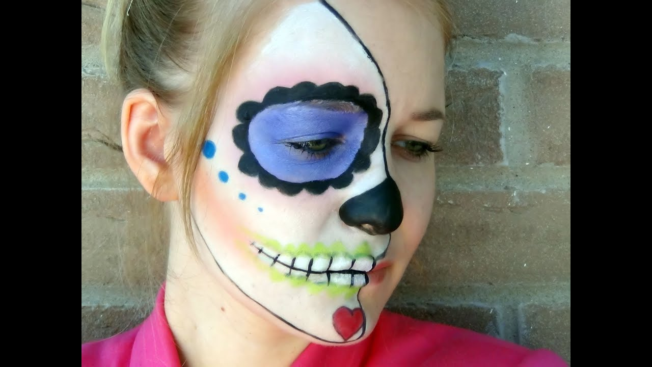 maquillage halloween sugar skull youtube. Black Bedroom Furniture Sets. Home Design Ideas
