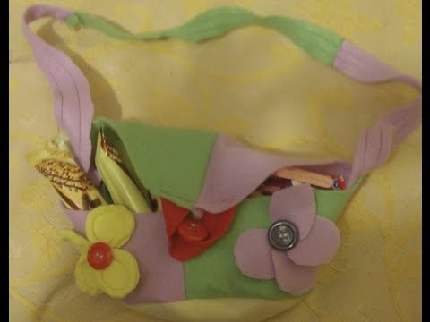Large Easter shoulder bag, decorated with buttons.