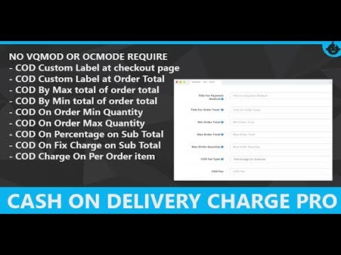 Cash On Delivery Charge COD Fees Opencart Admin And Front Demo By Sainent