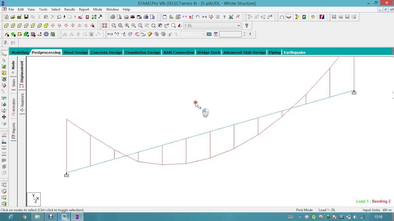 Simply Supported Beam with Point load and UDL In StaadPro