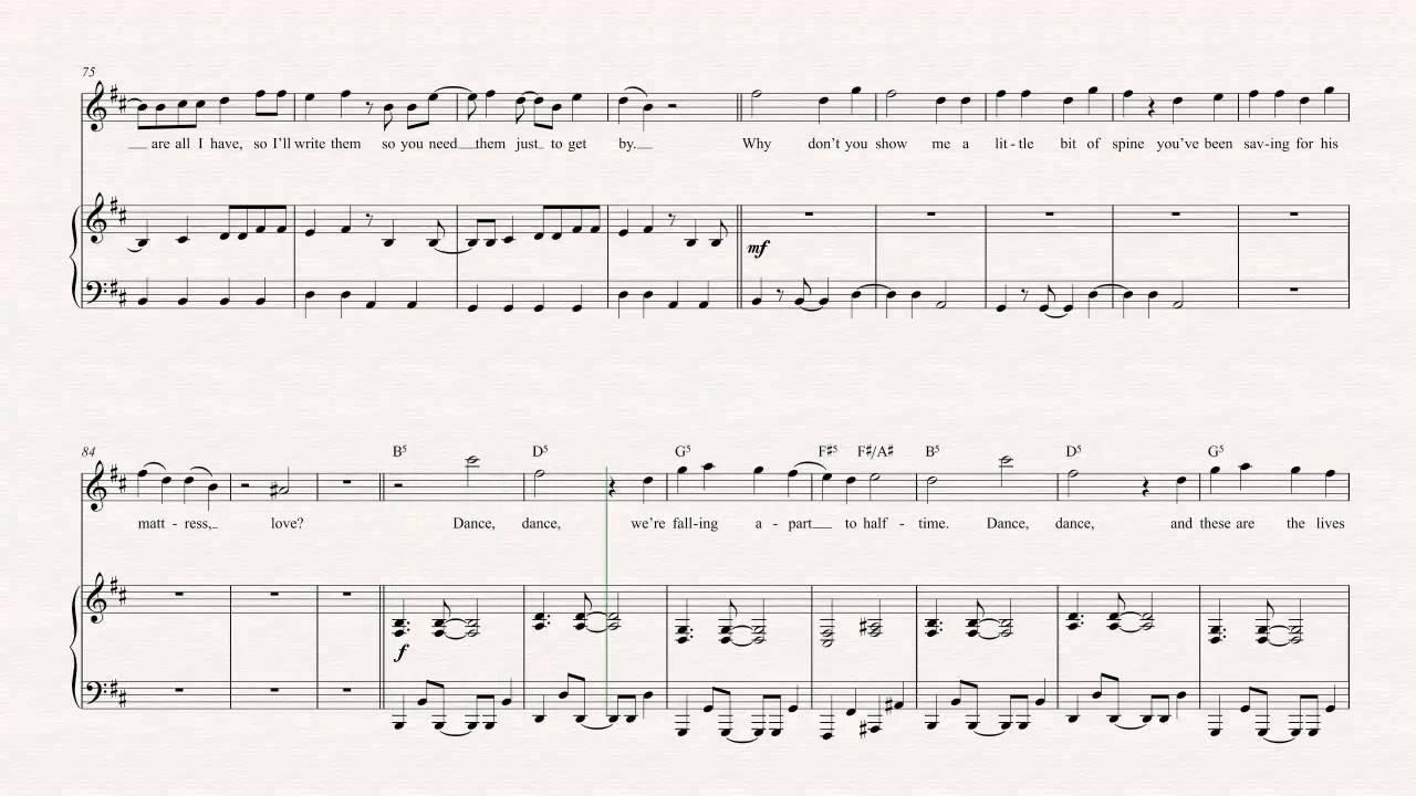 flute dance dance fall out boy sheet music chords