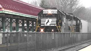 NJ Transit meets Metro North, Norfolk Southern Local Freight in Suffern in HD