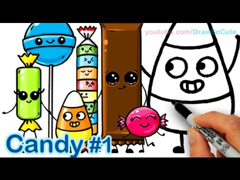 How to Draw Cartoon Candy Sweets Cute and Easy step by ...