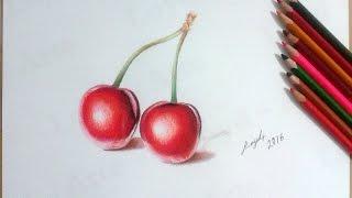 Un par de Cerezas dibujadas con Lapices de Colores / A pair of Cherries - Realistic drawing