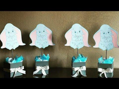 Mesa De Baby Shower.Diy Dumbo Centerpieces Centro De Mesas Diy Baby Shower Ideas
