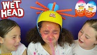 Wet Head Extreme Challenge! Super Gross Slime Baff Kinder Surprise Eggs Opening