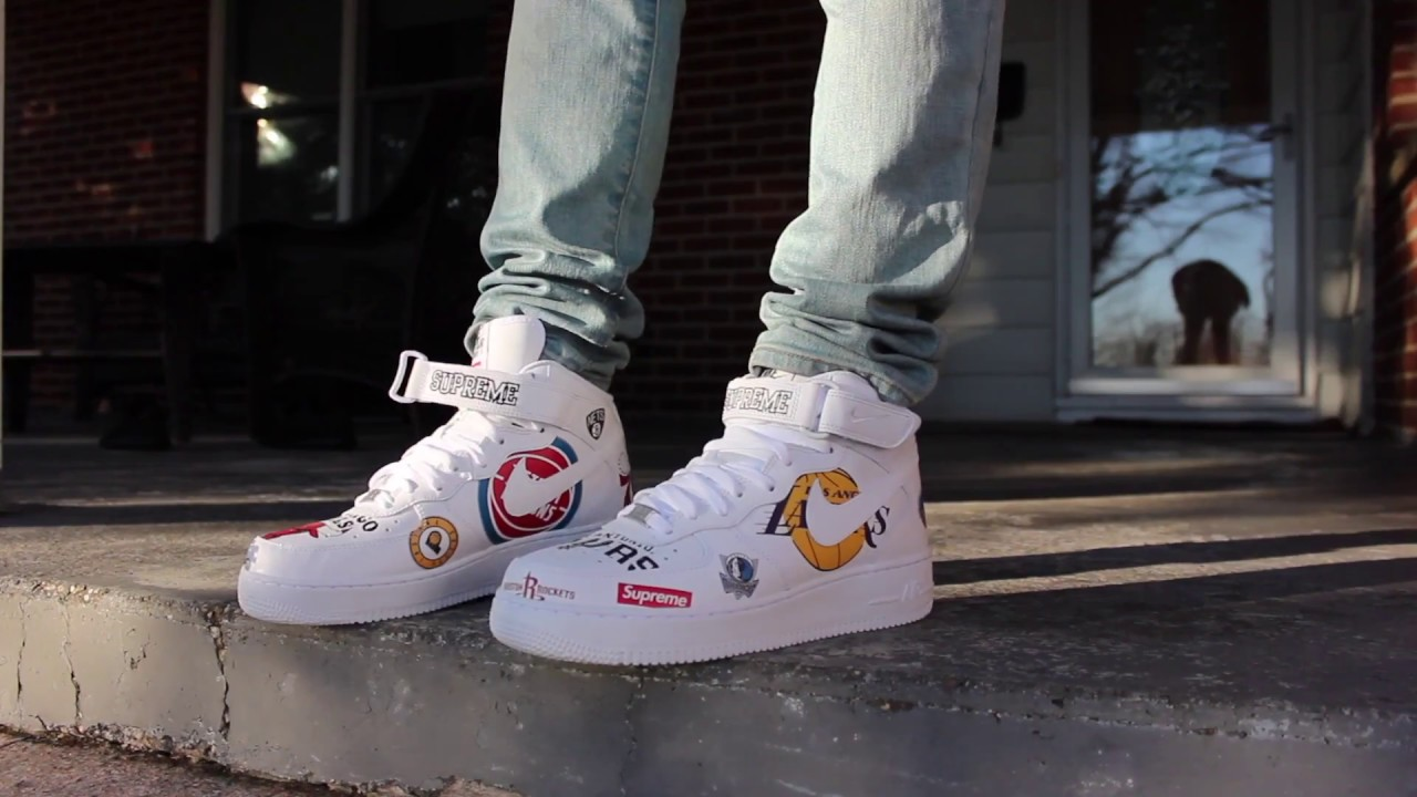 9222a789fd6f Supreme NBA Nike Air Force 1 Mid White Review + On Feet - YouTube