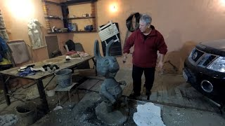 изготовление скульптура ПЯТАЧКА из цемента по мультику вини пух мастер класс фильм 2