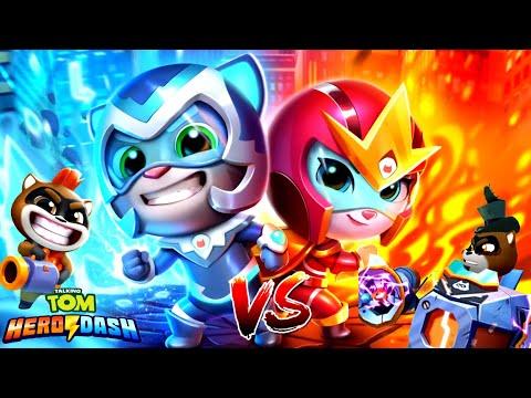 Talking Tom Hero Dash Соревнование: Том Ледяная Молния VS Анжела Огненная Стрела! Том Погоня Героев