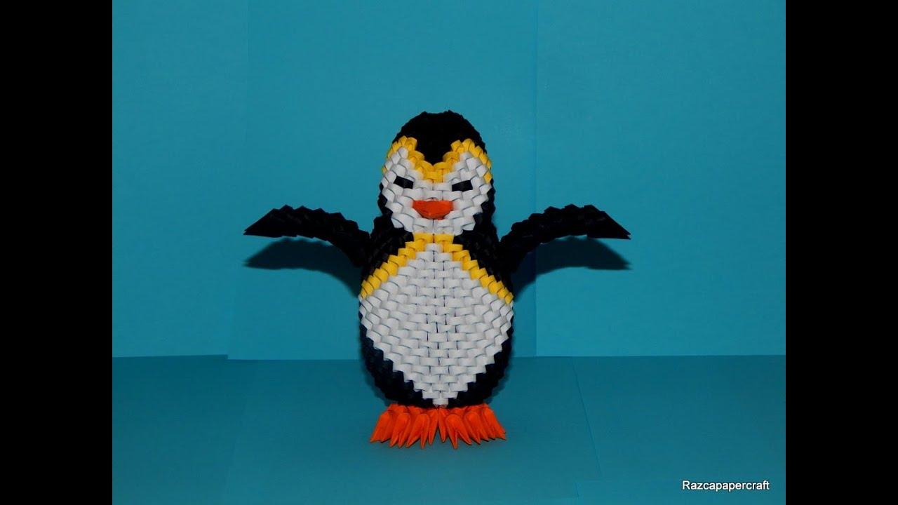 3d Origami Penguin Tutorial Part 1 Youtube