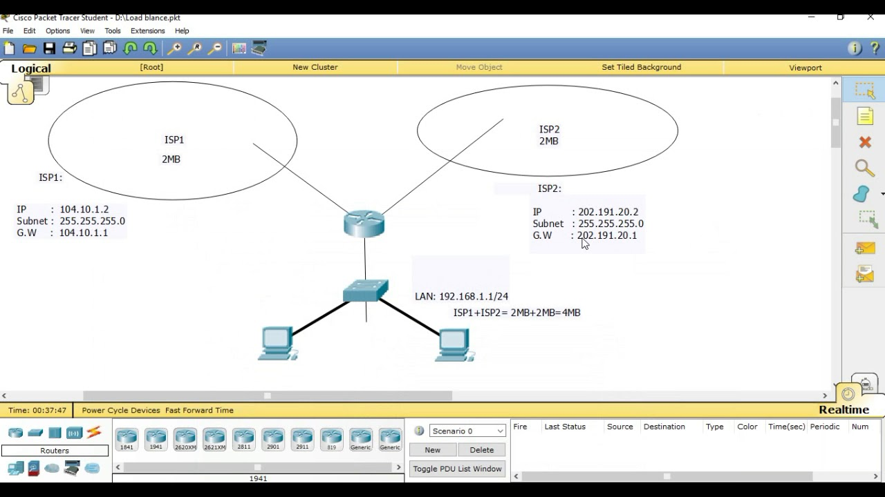 Bandwidth merge or Load Balancing with Failover By MikroTik Router
