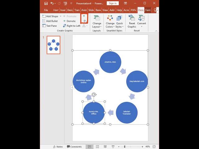 Tutorial Belajar Kursus Komputer Ms. PowerPoint Membuat SmartArt Siklus pada Slide Presentasi