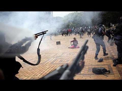 South African police clash with student protesters thumbnail