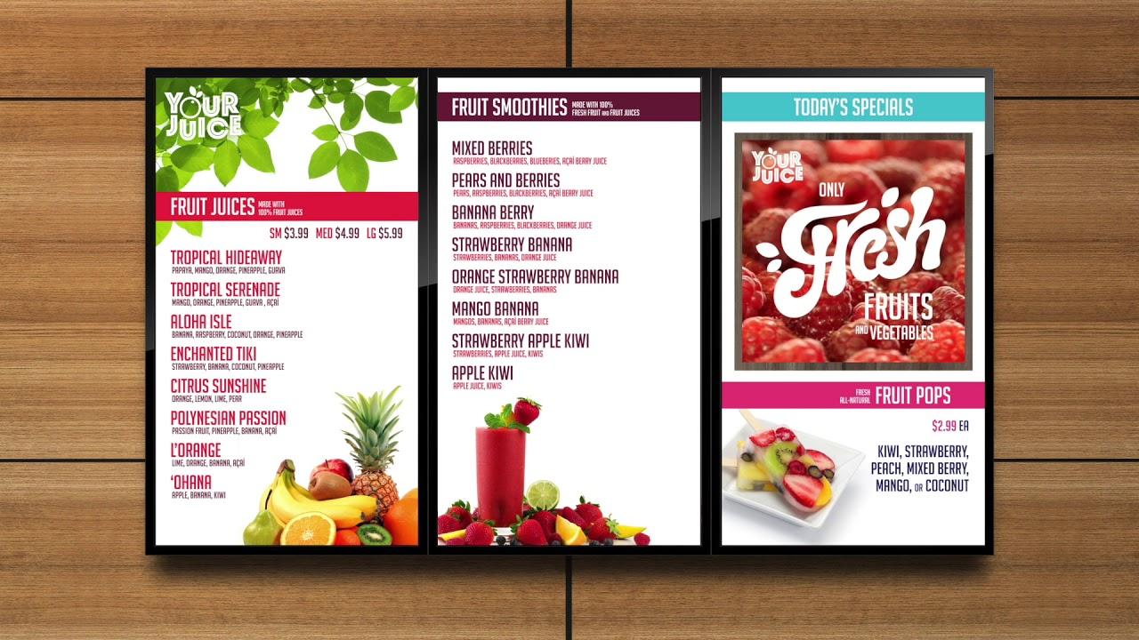 Sample Digital Menu Board - Juice Restaurant - YouTube