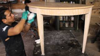 Applying a washed finish to Cerused Oak Dining Table