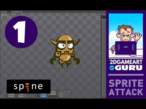 Animating game art assets in Spine - image and bone setup and idle animation