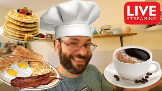 Time For Breakfast! Bacon, Eggs, Hashbrowns, & Pancakes! | October 2nd Cooking Live Stream