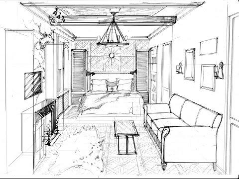 Рисуем спальню - гостиную в стиле шале - графика