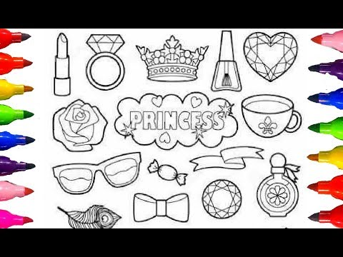 Princess Patches kit Staff Coloring Pages Rainbow Colours kids Children Learning Colours