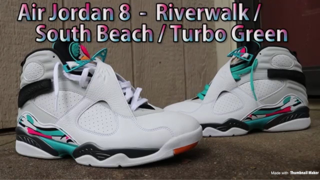 pretty nice f3686 373de AIR JORDAN 8 SOUTH BEACH AKA RIVERWALK AKA TURBO GREEN REVIEW & ON FEET!!