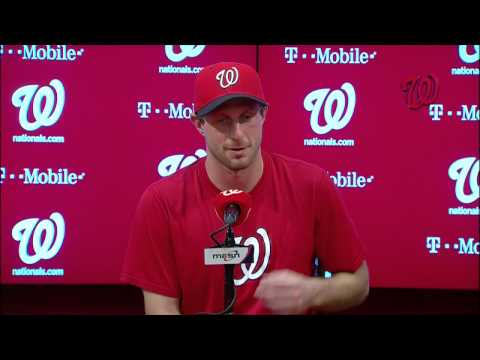 Max Scherzer meets with the media after throwing a no-hitter