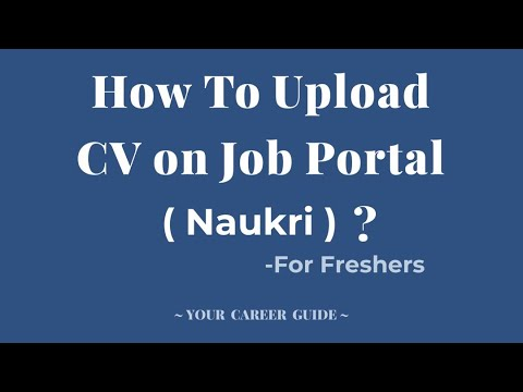 how to upload cv resume on job portal naukri for freshers