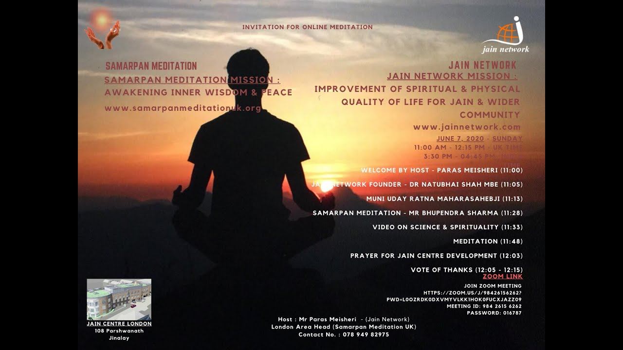 Samarpan Meditation in Affiliation With Jain Network UK Webinar 7 June 2020