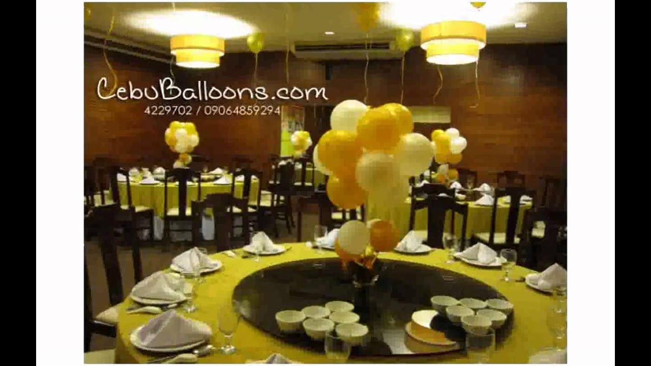 Table balloon decorations youtube for Balloon decoration ideas no helium