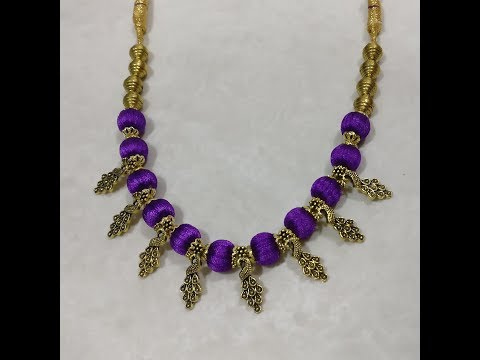 Beautiful silk thread necklace (easy/step by step