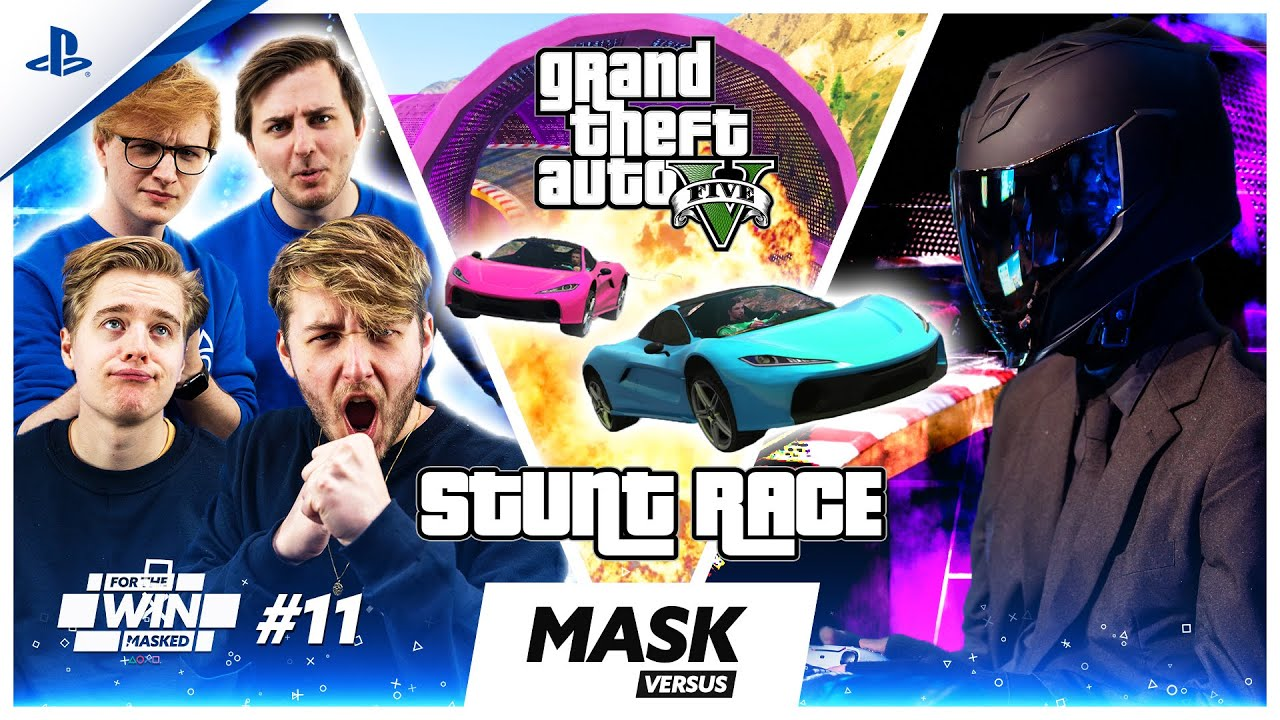 MASKED GTA STUNT RACE met MATTHY, JEREMY, THOMAS en EGBERT | FOR THE WIN: MASKED #11 | PlayStation