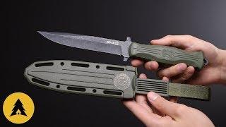 Нож НР-18 сталь AUS-8 черный, рукоять эластрон Олива (Кизляр)