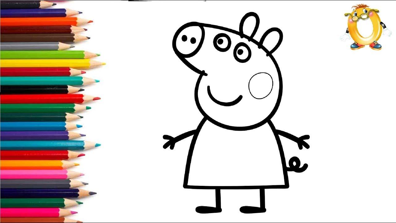 раскраски для детей свинка пеппа как нарисовать свинку пеппу рисуем свинку пеппу