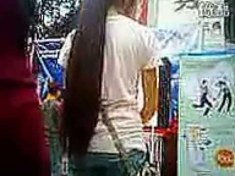 long hair spy cam on the street
