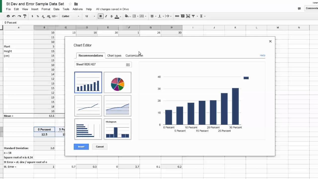 Error Bars Using Google Sheets