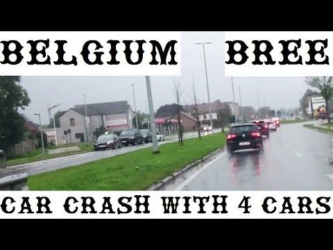 4 wagens botsen in bree van de rotonde aan frituur 39 t pistoleeke car crash in belgium 7 10. Black Bedroom Furniture Sets. Home Design Ideas