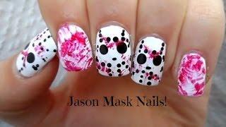 Jason Mask Nails    Halloween Nail Art