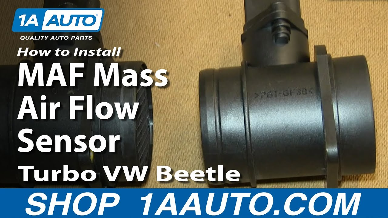 how to install replace maf mass air flow sensor 2001 05 1 8l turbo vw beetle [ 1280 x 720 Pixel ]