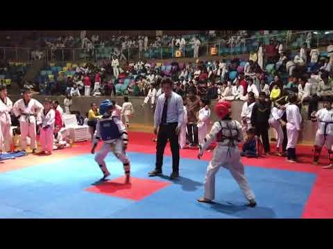 Taekwondo fight of tyagraj stadium Delhi by metro quarter