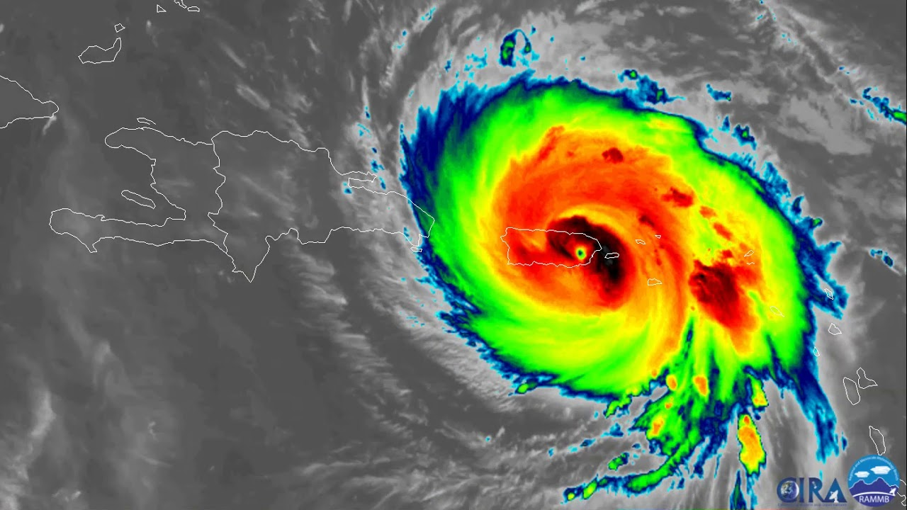 Hurricane Maria Infrared Satellite Imagery Youtube