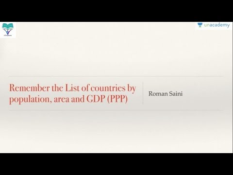 Mnemonics to remember the list of countries by population, area and GDP PPP