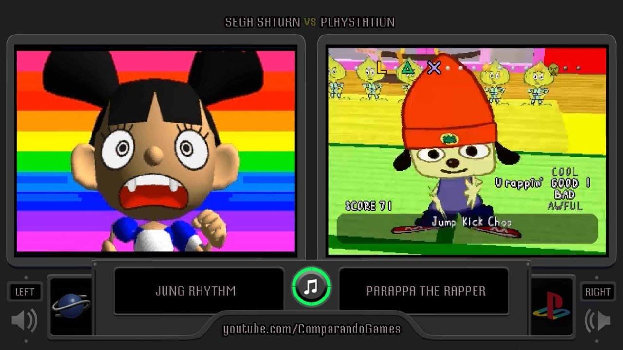 Parappa The Rapper Sega Saturn Vs Playstation Side By
