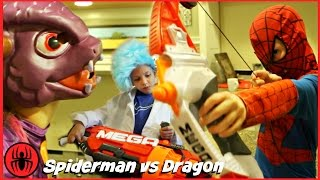 Spiderman vs Dragon Monster Nerf War w Thor Iron Man Superhero real life movie comics SuperHero Kids