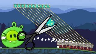 Bad Piggies - CUT THE ROPE! 1000 ALIEN PIG CARRYING ROPE EXPERIMENT!