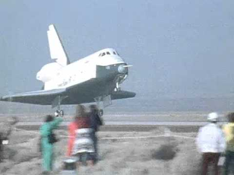 Shuttle Enterprise bouncing during its last landing, Oct 26 1977