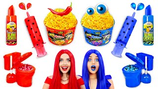 Download RED SPICY VS BLUE SWEET Food Challenge | Eating Sweet and Fire Noodles! Mukbang by RATATA