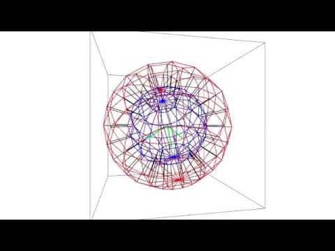 ボール(厚みのある球面)を四次元空間で裏返す様子 - YouTube
