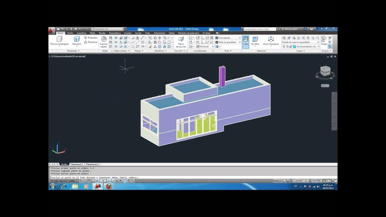 Realizar Cortes Con Autocad 3d Youtube