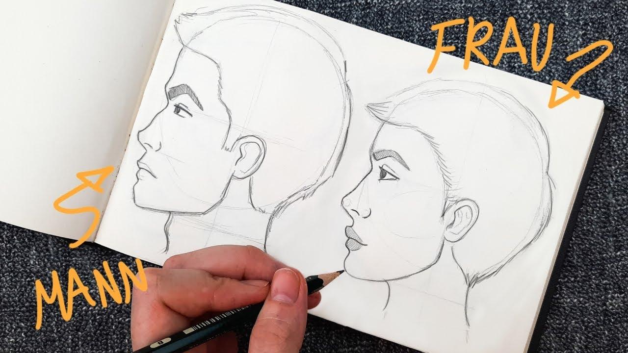 Wie zeichnet man ein Gesicht von der Seite (Im Profil