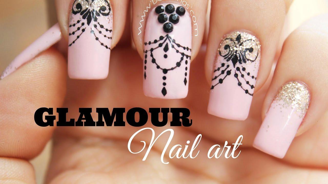 Decoraci n de u as glamour glamour nail art youtube for Decoracion de unas discretas